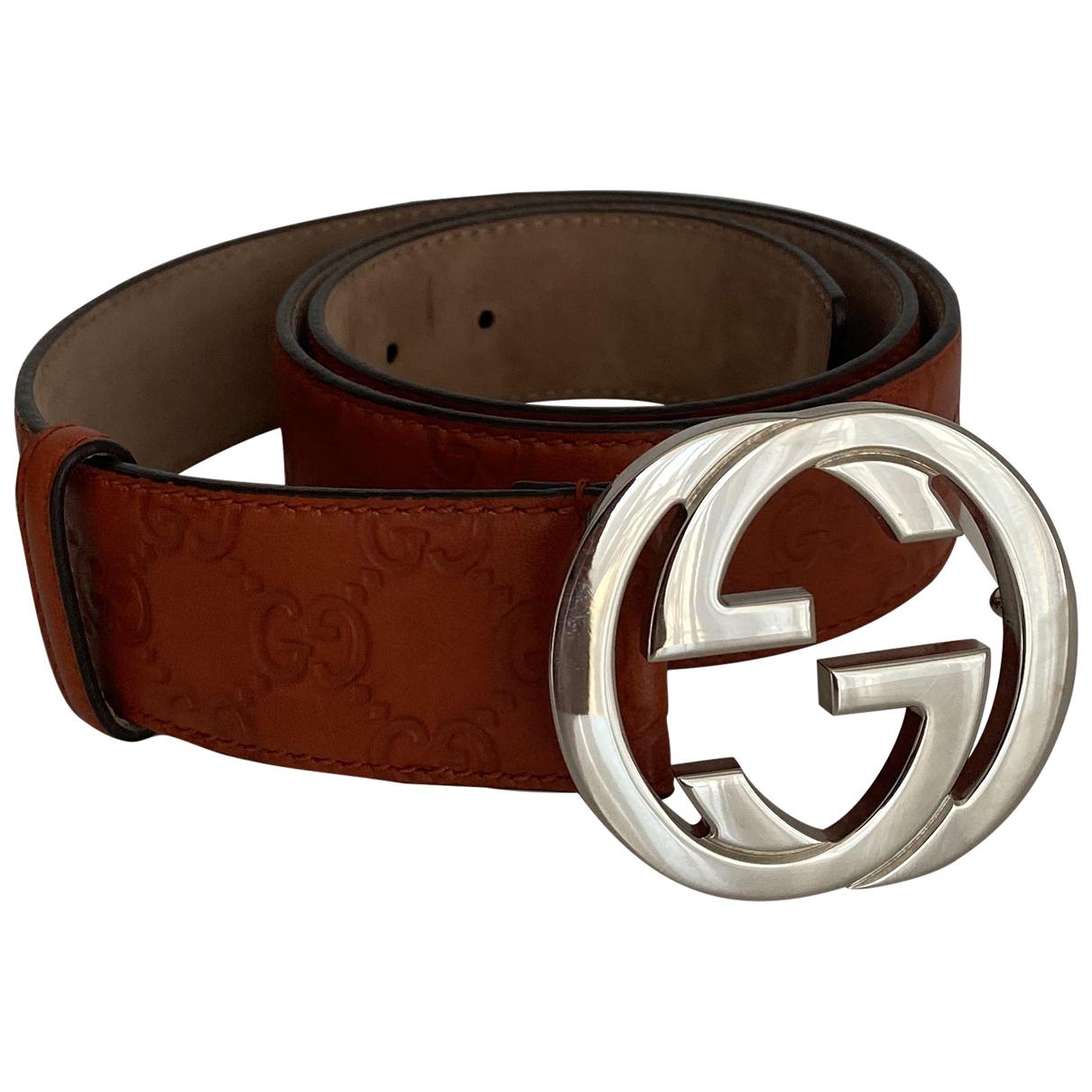 Gucci GG Buckle Guertel in  Orange Leder