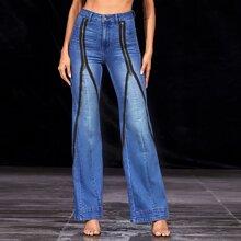 Bleach Wash Zip Detail Flare Leg Jeans