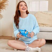 Solid Flannel Drop Shoulder Pajama Set