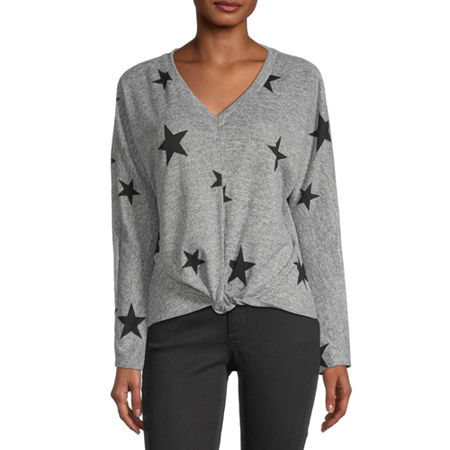 by&by-Juniors Womens V Neck Long Sleeve Star Pullover Sweater, X-small , Gray