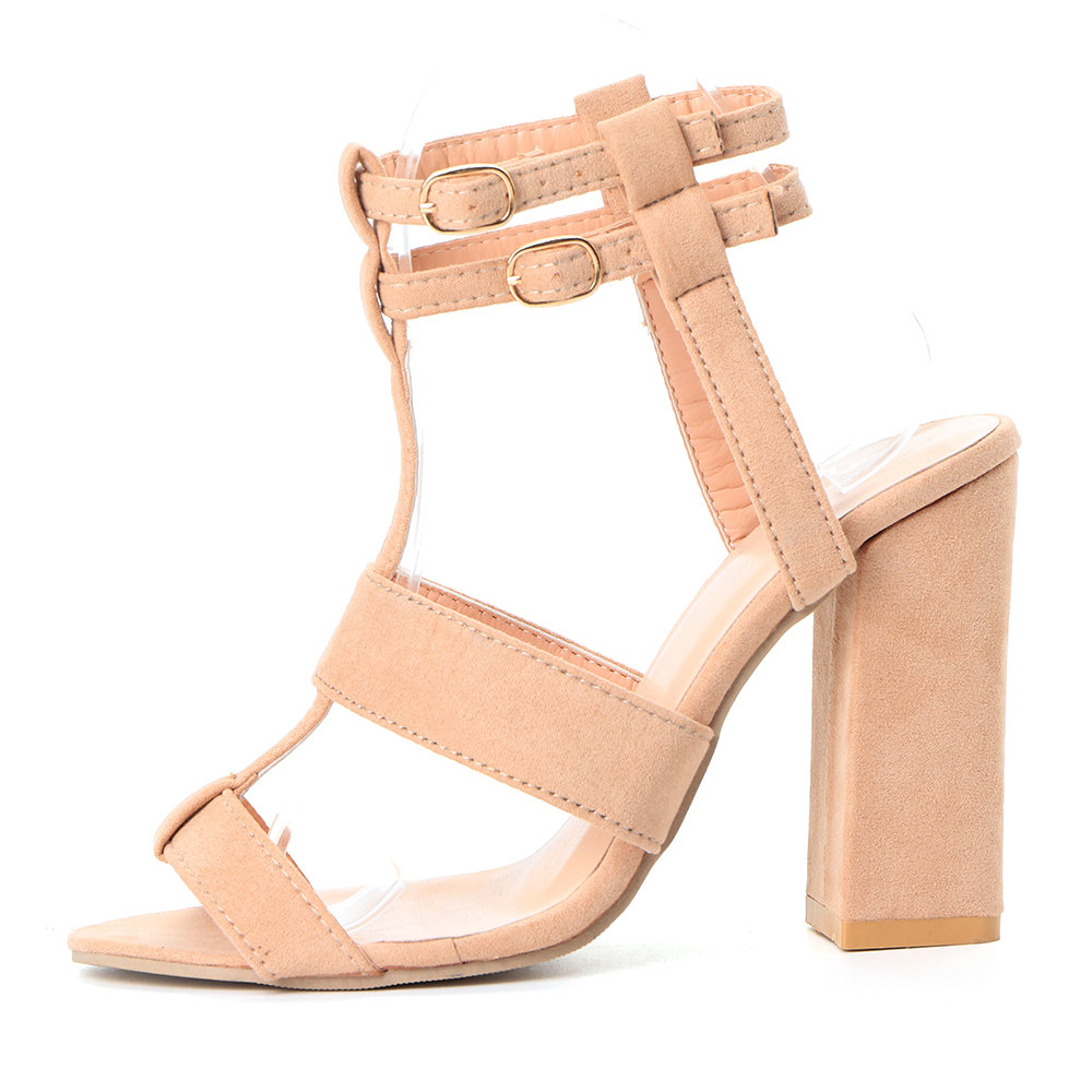 Women Rome Party Suede Buckle Chunky High Heel Sandals