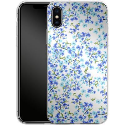 Apple iPhone X Silikon Handyhuelle - Blue Blooms von Mukta Lata Barua