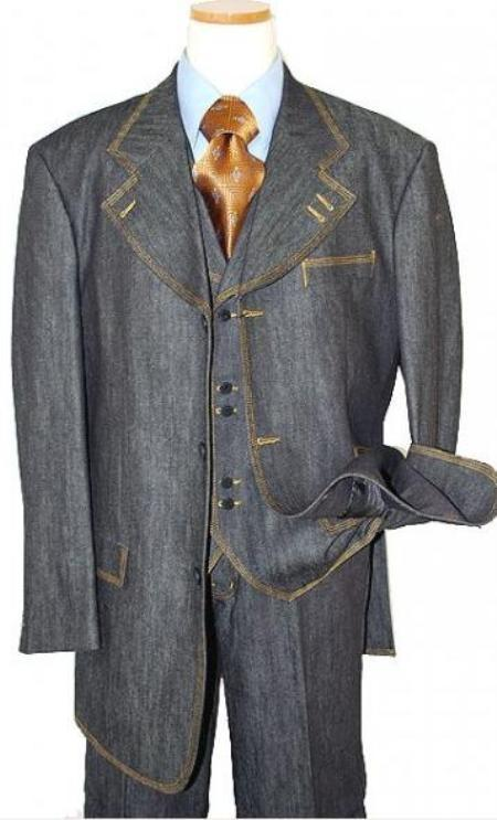 Denim Suit 3 Piece 1 Cotton Denim Fabric suits gold stitching