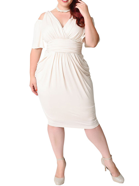 Milanoo White Bodycon Dress Plus Size Silk Cold Shoulder V Neck Draped Ruched Women's Wrap Dress