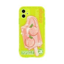 Neon Lime iPhone Huelle mit Eiscreme & Buchstaben Grafik