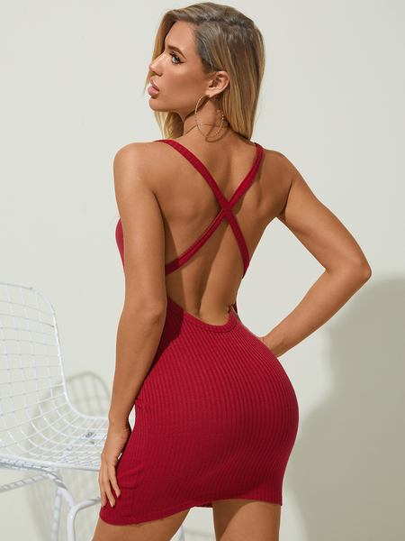 YOINS Sexy Knit Backless Criss-cross Square Neck Spaghetti Strap Sleeveless Dress