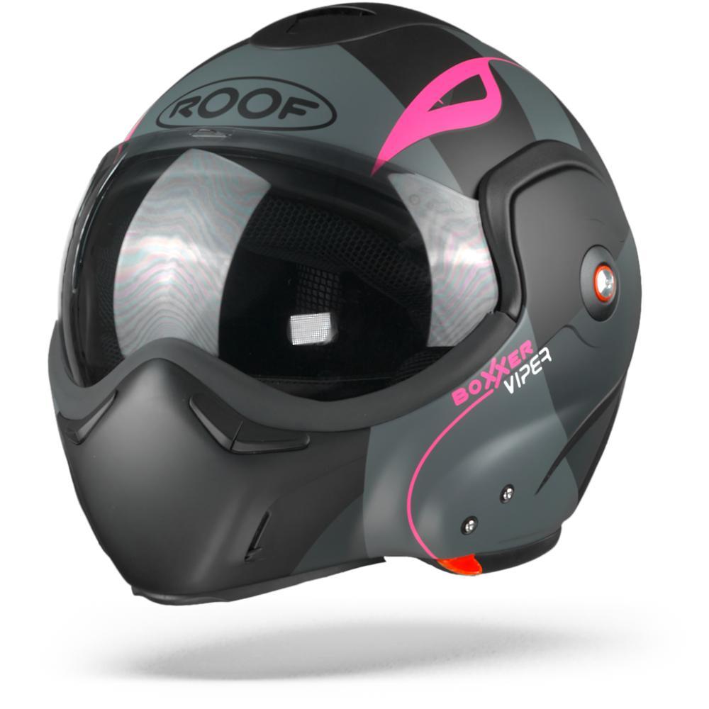 ROOF BoXXer Viper Casco Modular Negro Mate Rosa M