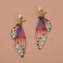 Rhinestone & Butterfly Decor Drop Earrings