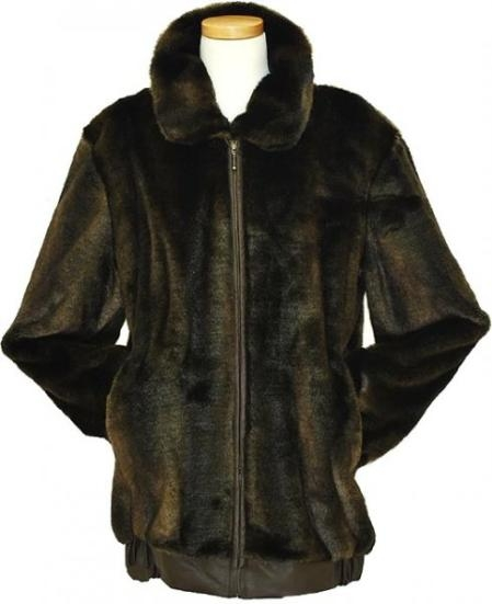 Brown Faux Fur Bomber Jacket Mens
