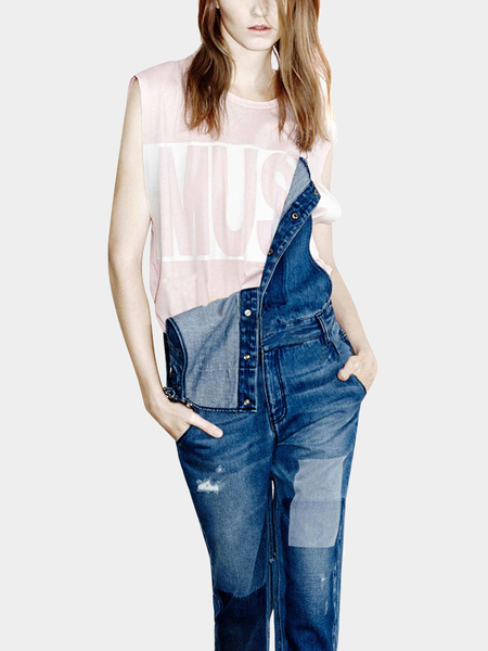 Yoins Blue Distressed Fell Length Denim Dungaree