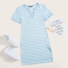 Notched Neck Striped Dress