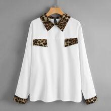 Plus Leopard Colorblock Keyhole Back Blouse