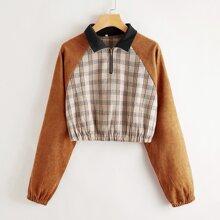 Cord Pullover mit Kontrast Karo Muster und halbem Reissverschluss