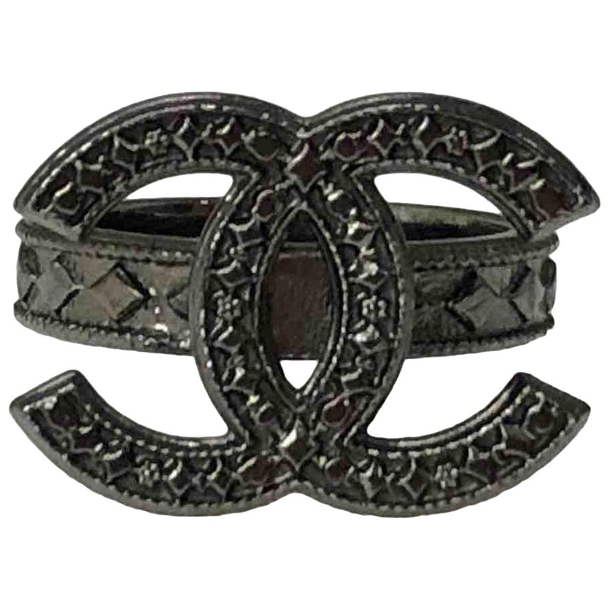 Chanel - Bague CC pour femme en metal - gris