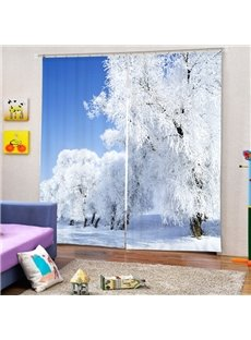 Amazing Snow Forest Printing 3D Curtain