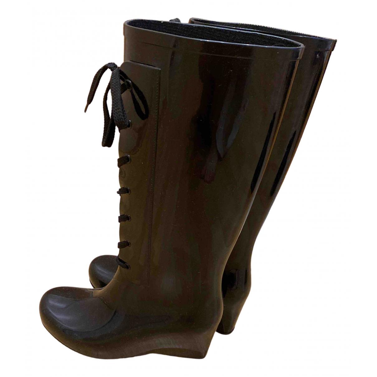 Yves Saint Laurent - Bottes   pour femme en cuir verni - noir