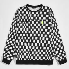 Men Lightning Patched Checked Pullover