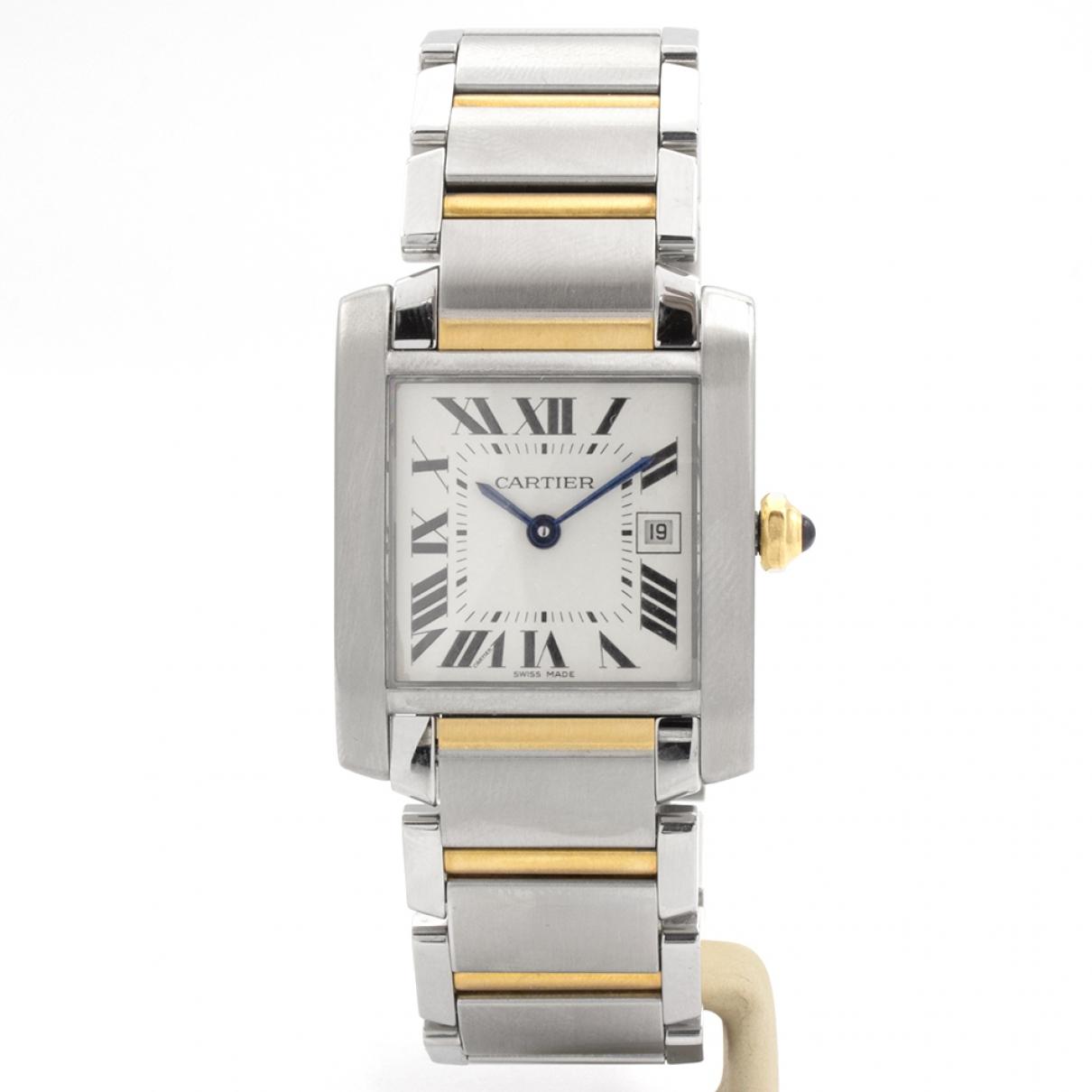 Cartier - Montre Tank Francaise pour homme en or et acier - argente