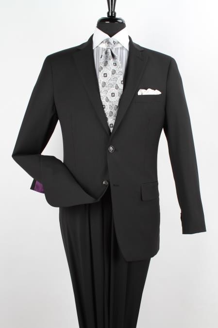 Mens 2 Piece 1 Wool Executive Suit Notch Lapel Black with Stripe