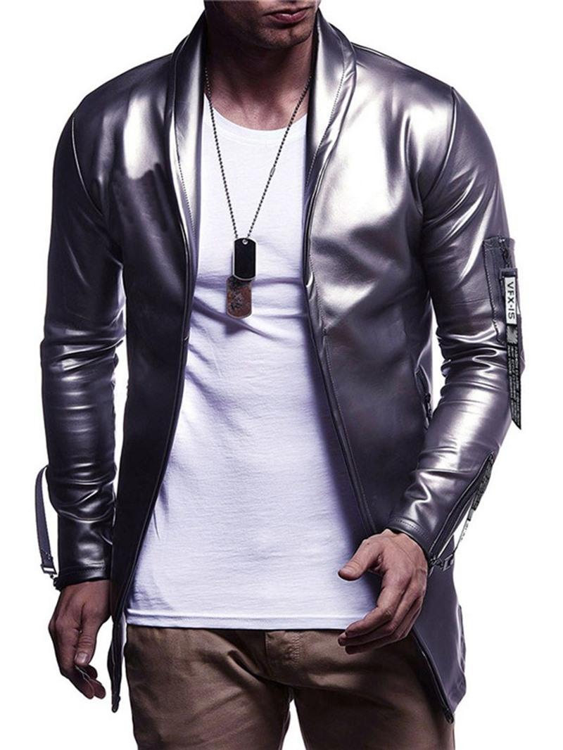 Ericdress Plain Color Lapel Casual Slim Style Mens Leather Jacket