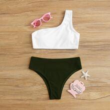 Maedchen Gerippter zweifarbiger Bikini Badeanzug mit einer Schulter frei