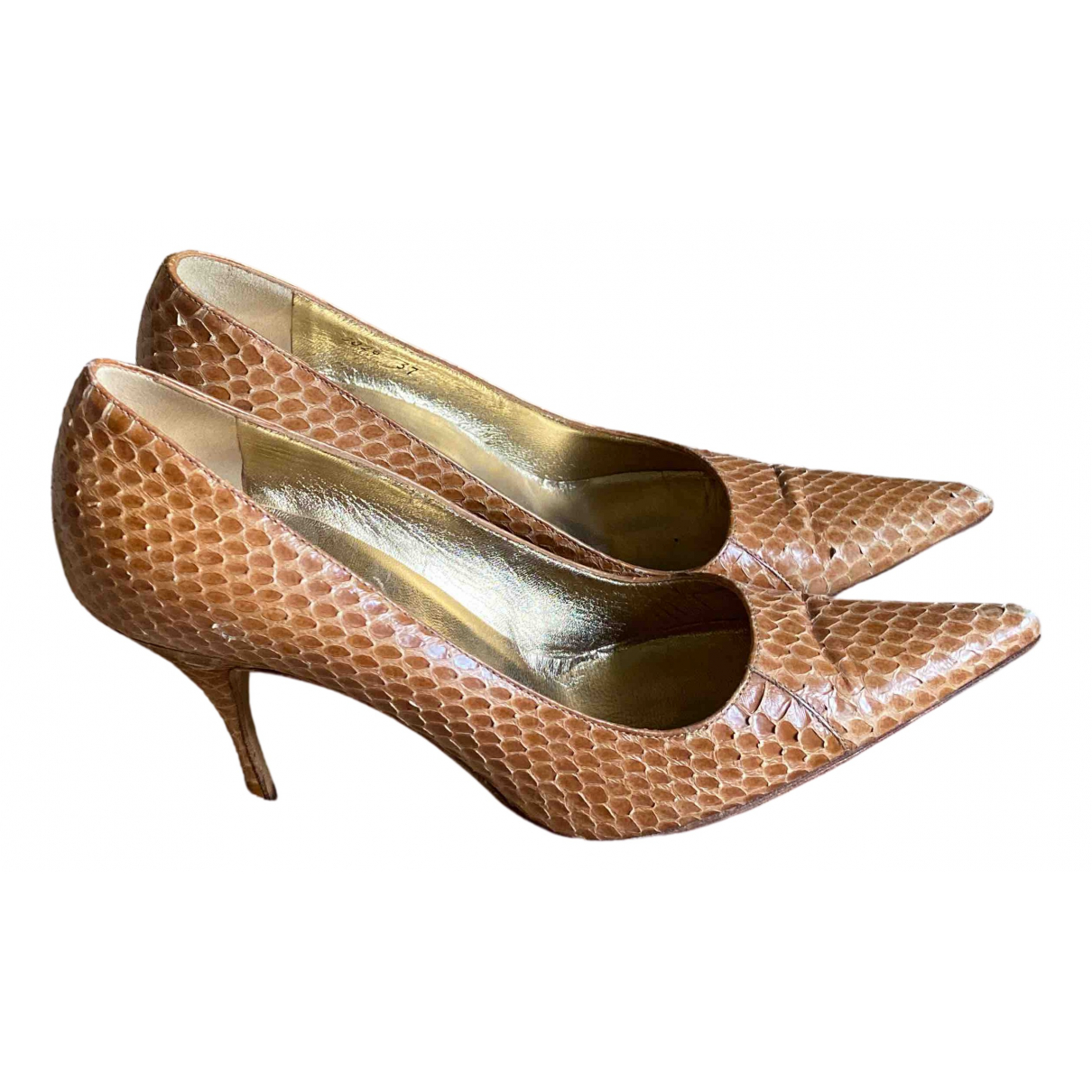 Dolce & Gabbana - Escarpins   pour femme en python - marron