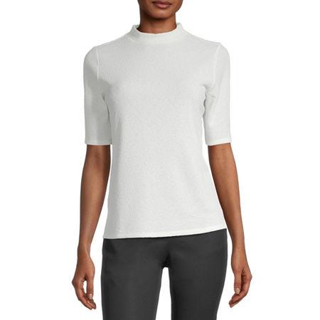 Worthington-Womens High Neck Short Sleeve T-Shirt, Large , White