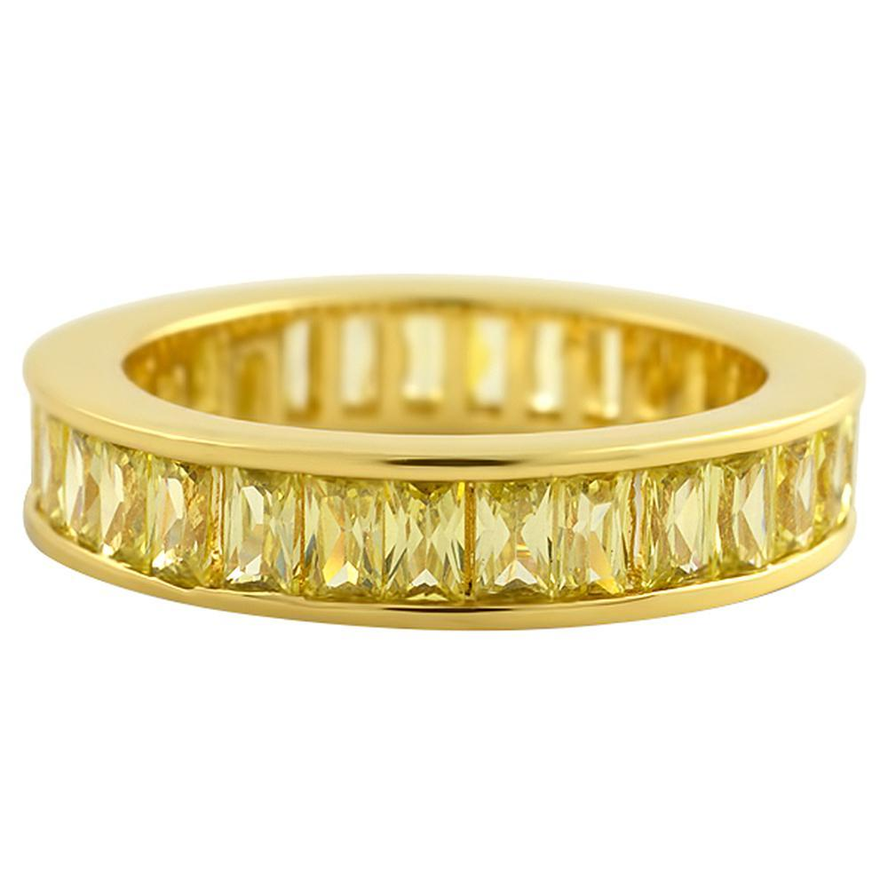 Canary Baguette Eternity Gold CZ Bling Bling Ring