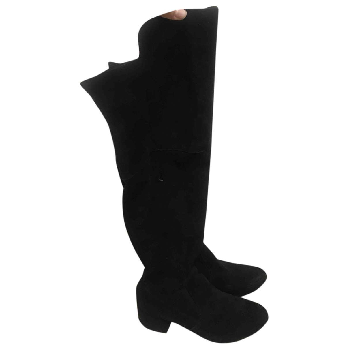 Non Signé / Unsigned N Black Suede Boots for Women 37 IT