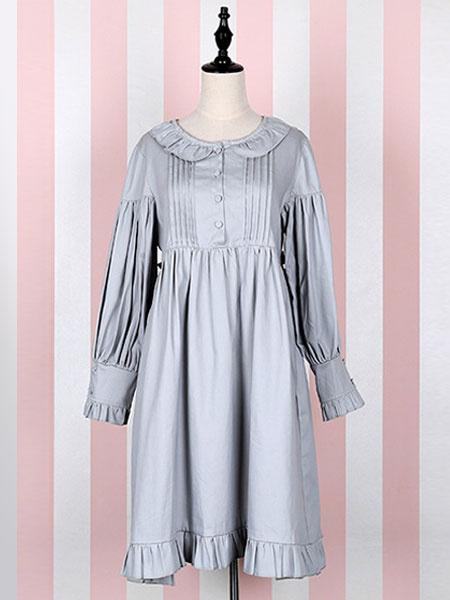Milanoo Classic Lolita Outfits Burgundy Long Sleeve Turndown Collar Ruffles Dress With Jumper Skirt