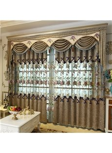 Decorative Classy Chenille Hollowed-out and Embroidery Luxury Grommet Curtain For Living Room
