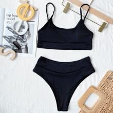 Plain Rib High Waisted Bikini Swimsuit