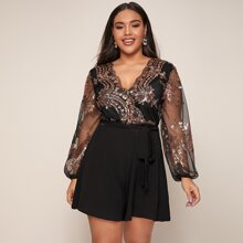 Plus Surplice Neck Sheer Lantern Sleeve Sequin Bodice Belted Romper