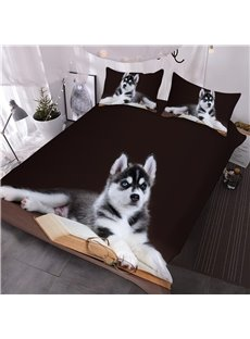 Husky with Book and Glasses Printed 3-Piece 3D Black Comforter Sets