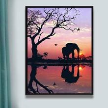 DIY Diamand Malerei mit Elefant Muster ohne Rahmen