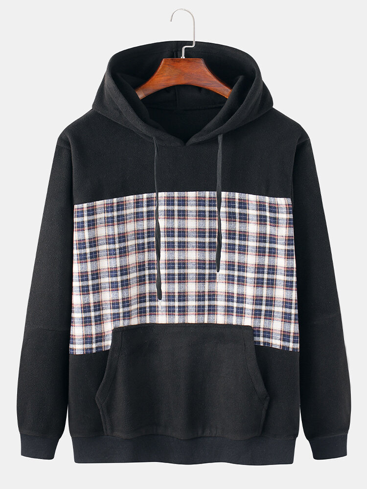 Mens Cotton Flocking Tartan Patchwork Casual Drawstring Hoodies With Pouch Pocket