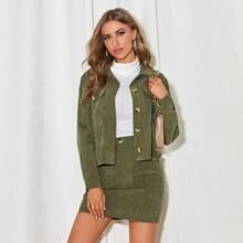 Drop Shoulder Buttoned Trucker Jacket & Skirt Set