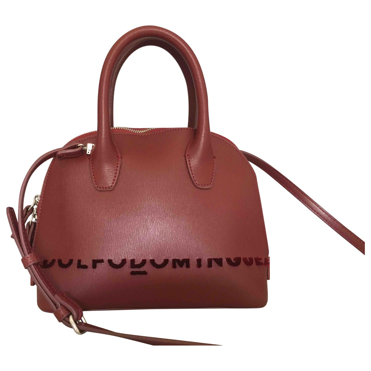 Adolfo Dominguez \N Handtasche in  Bordeauxrot Leder
