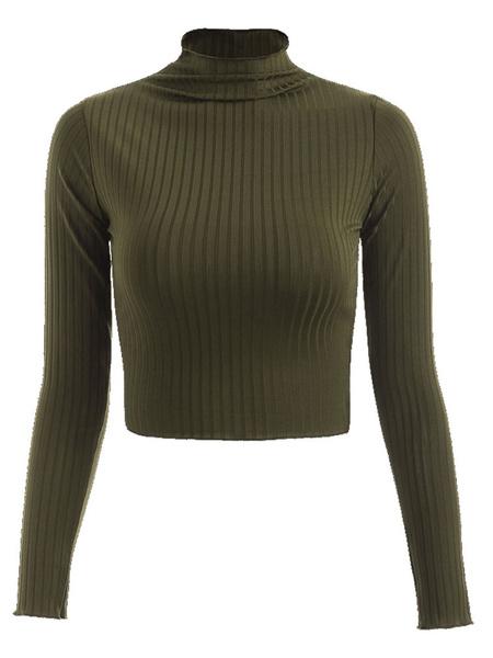 Milanoo Long Sleeves Tees Black High Collar Polyester T Shirt For Women