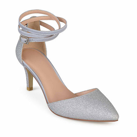 Journee Collection Womens Luela Pumps Stiletto Heel, 7 1/2 Medium, Silver