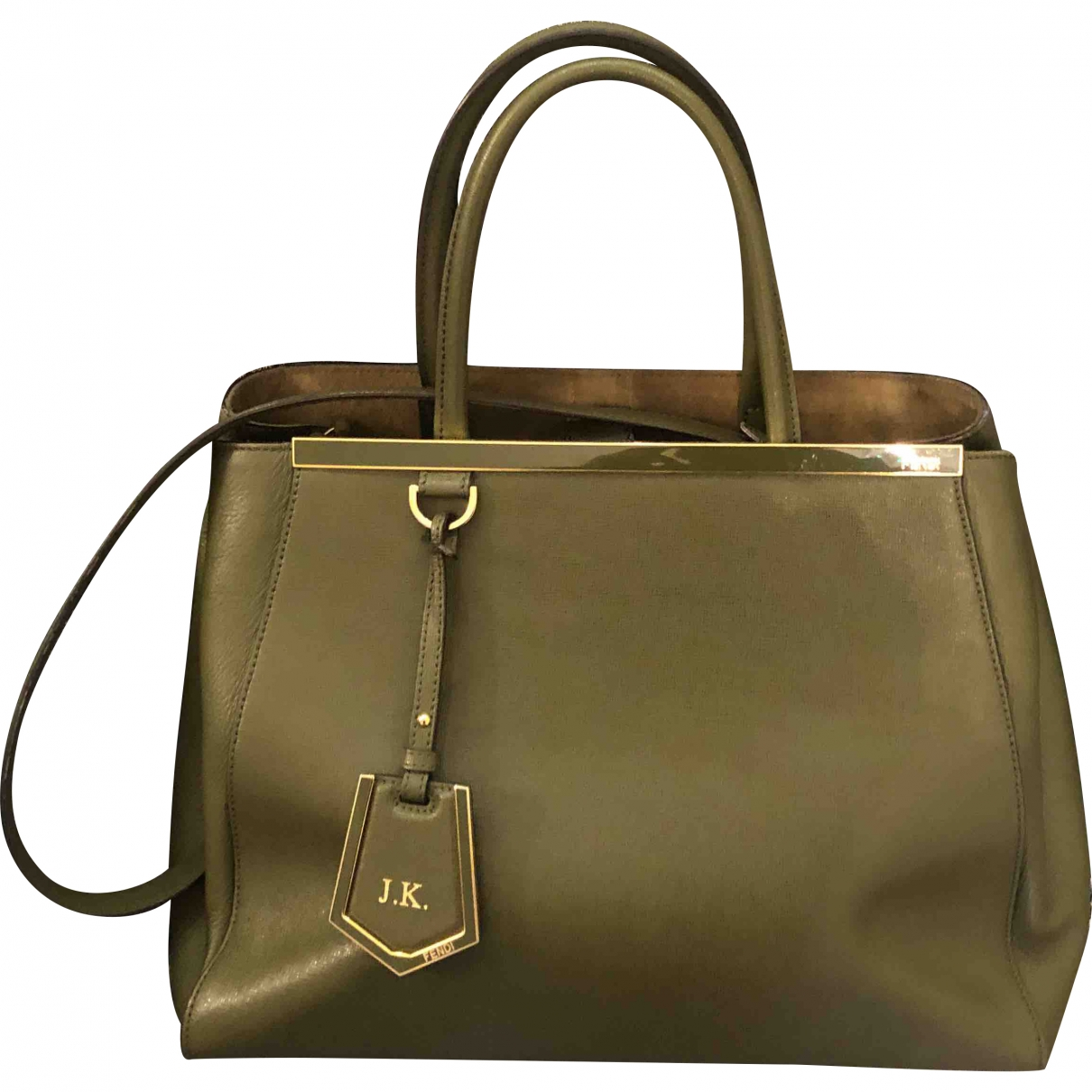 Fendi 2Jours Handtasche in  Khaki Leder