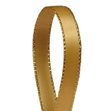 Sparkle Antique Gold Satin Ribbon with Gold Edges - 3/8 X 50 Yards - by Paper Mart