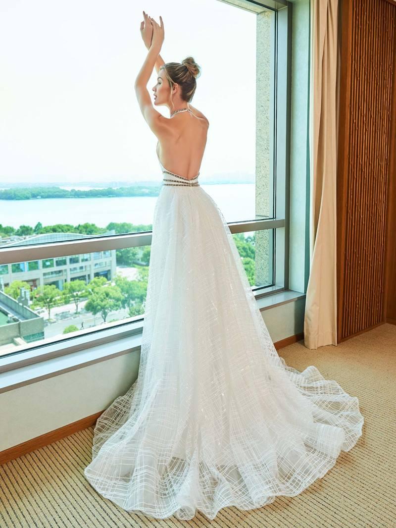 Ericdress Backless A Line Halter Lace Wedding Dress