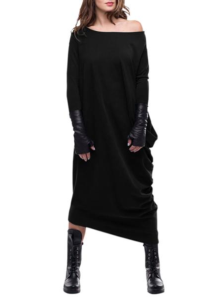Yoins VONDA Round Neck Long Sleeves Ruched Dress