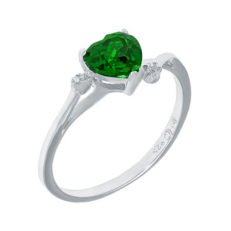 Lab-Created Emerald and Genuine White Topaz Sterling Silver Heart-Shaped Ring, 5 , No Color Family