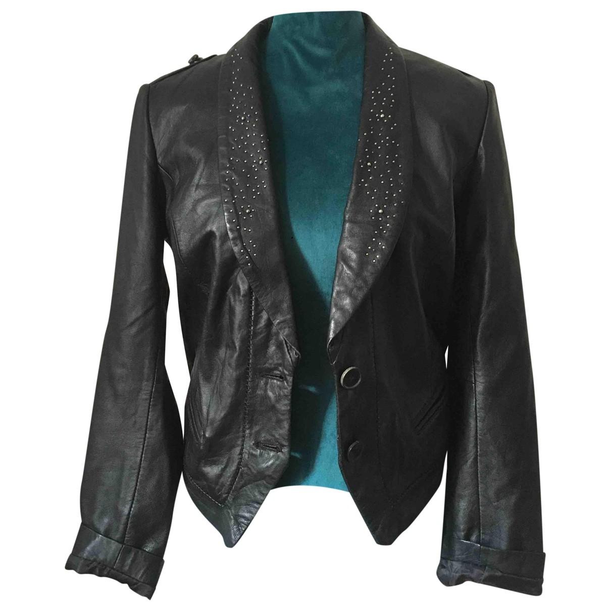 Zara - Veste   pour femme en cuir - noir
