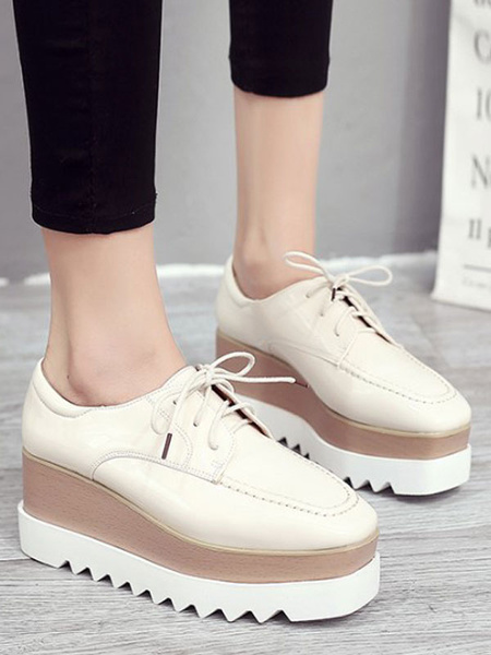 Milanoo Stylish Oxfords Round Toe PU Leather Front Lace PU Rubber Round Toe Oxfords Shoes