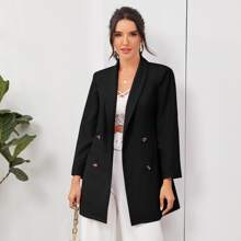 Shawl Collar Double Breasted Placket Blazer