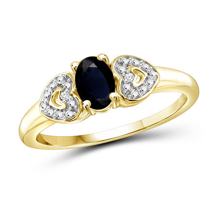 Womens Diamond Accent Genuine Blue Sapphire 14K Gold Over Silver Promise Ring, 7 , No Color Family