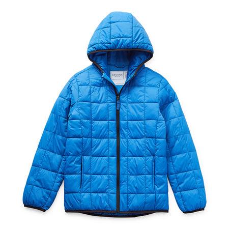 Arizona Little & Big Boys Hooded Packable Midweight Puffer Jacket, Small (8) , Blue